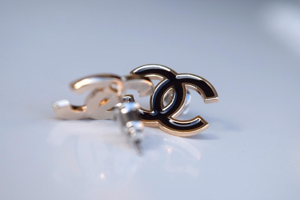 Lot 11A - 18K GOLD (IP) CC Logo Ear Studs/ Earrings