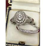 9ct WHITE GOLD DIAMOND ENGAGEMENT RING & 9ct GOLD DIA SET BAND RING