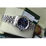 Steel & 18K White Gold Rolex DateJust Automatic Watch - Rare Blue Sunburst Baton Dial