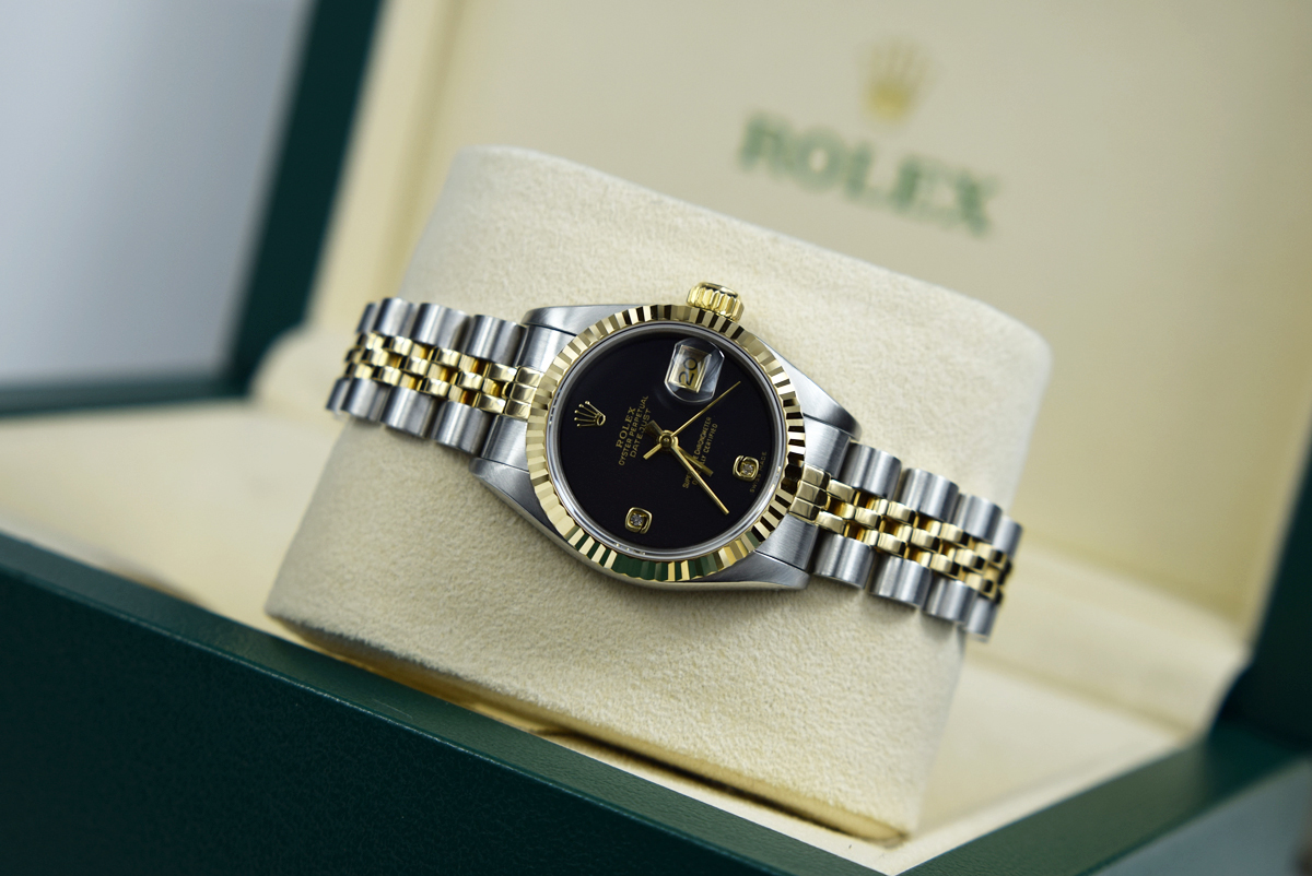 Lot 17 - ROLEX 'LADY DATEJUST' 26MM - STEEL & 18K GOLD WITH ✦ RARE DIAMOND DIAL