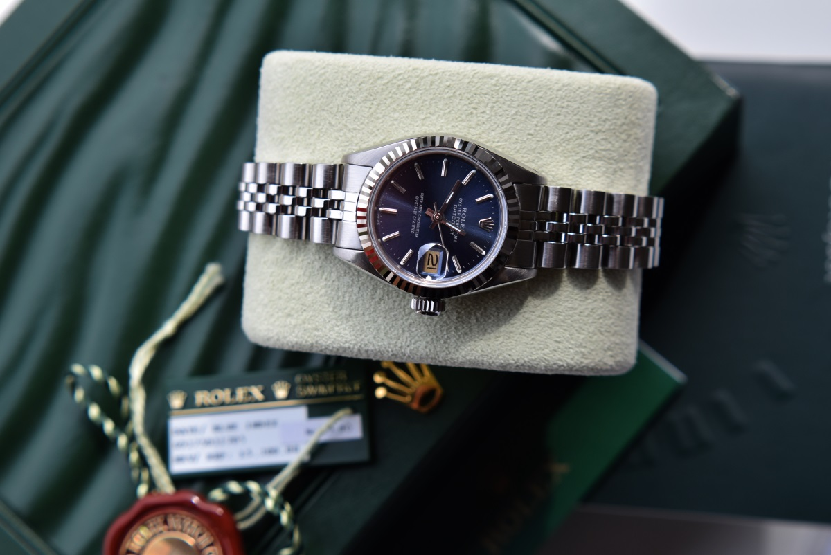 Lot 11 - Steel & 18K White Gold Rolex DateJust Automatic Watch - Rare Blue Sunburst Baton Dial