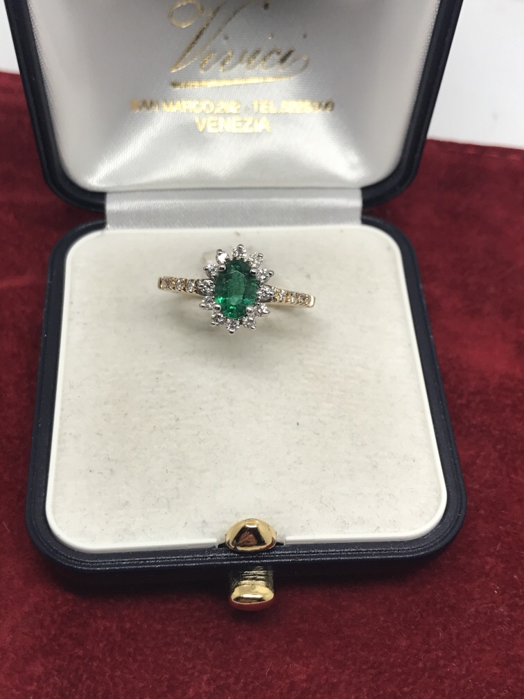 Lot 52 - 14ct EMERALD & DIAMOND CLUSTER RING 0.75ct EMERALD & 0.50ct DIA