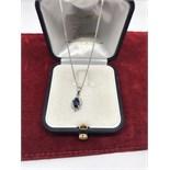 18ct WHITE GOLD BLUE SAPPHIRE & DIAMOND PENDANT & CHAIN