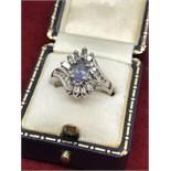14CT WHITE GOLD TANZANITE & DIAMOND RING