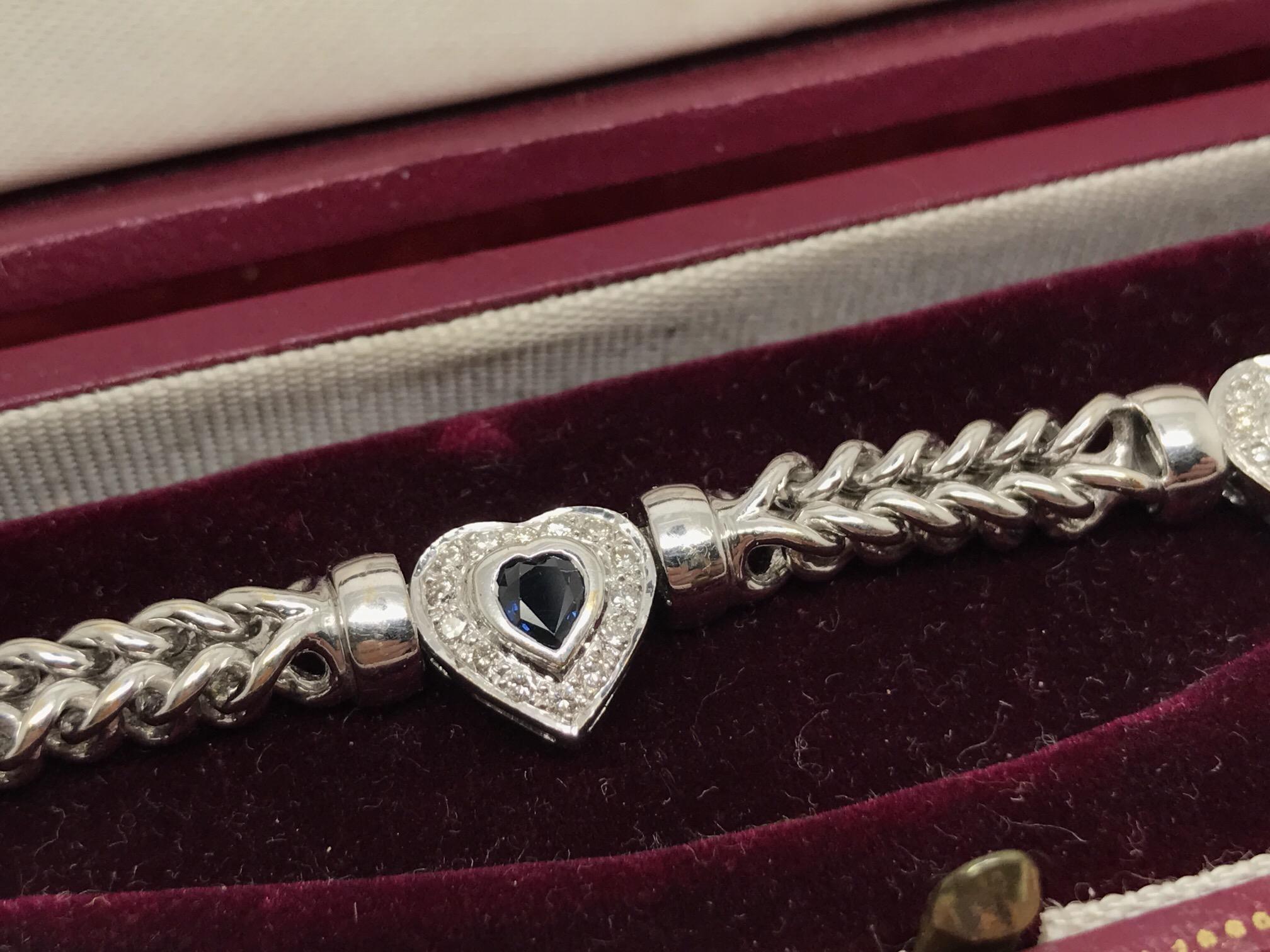 Lot 37 - FINE QUALITY 18ct WHITE GOLD HEART BLUE SAPPHIRE & DIAMOND BRACELET APPROX 35 GRAMS