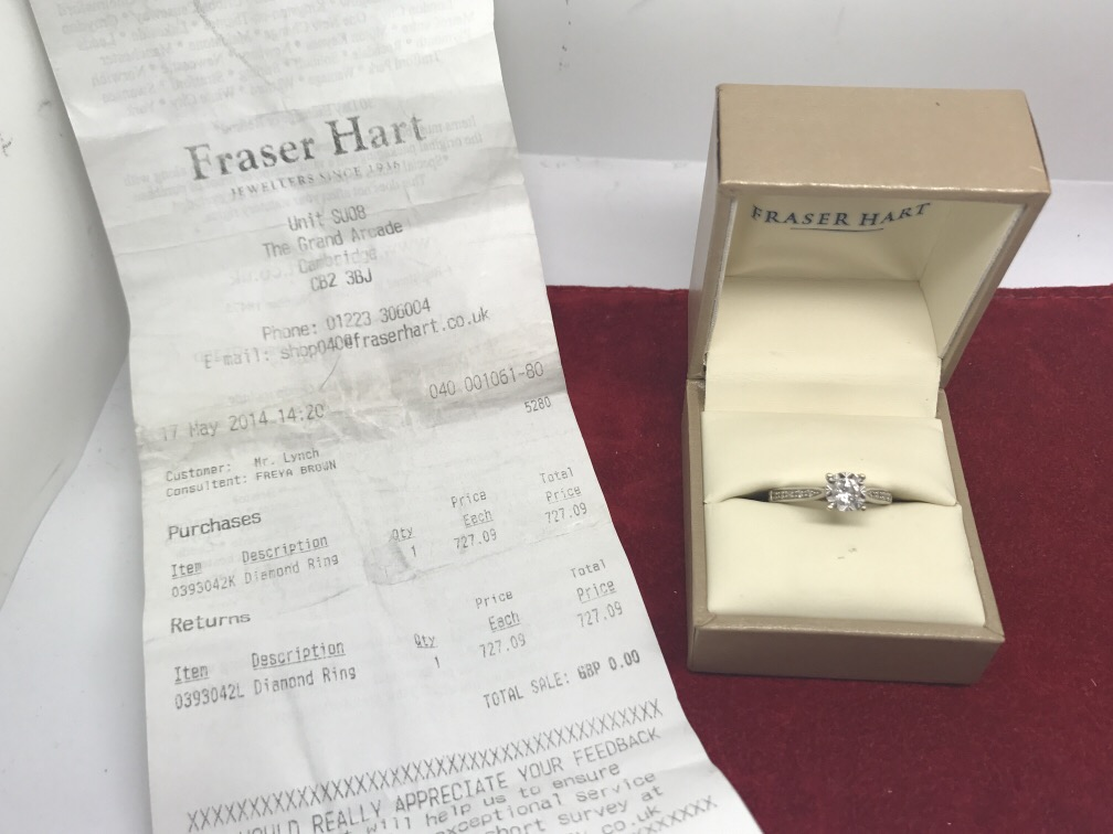 Lot 51 - FRASER HEART DIAMOND SOLITAIRE RING WITH RECEIPT