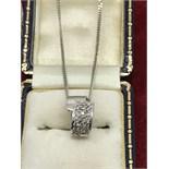 18ct WHITE GOLD DIAMOND PENDANT & CHAIN