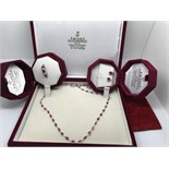 FINE 18CT GOLD PINK SAPPHIRE NECKLACE 10.00CTS + 14cr RING & 14ct EARRINGS
