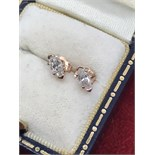 FINE MARQUISE CUT DIAMOND SOLITAIRE EARRINGS SET IN 14K ROSE GOLD