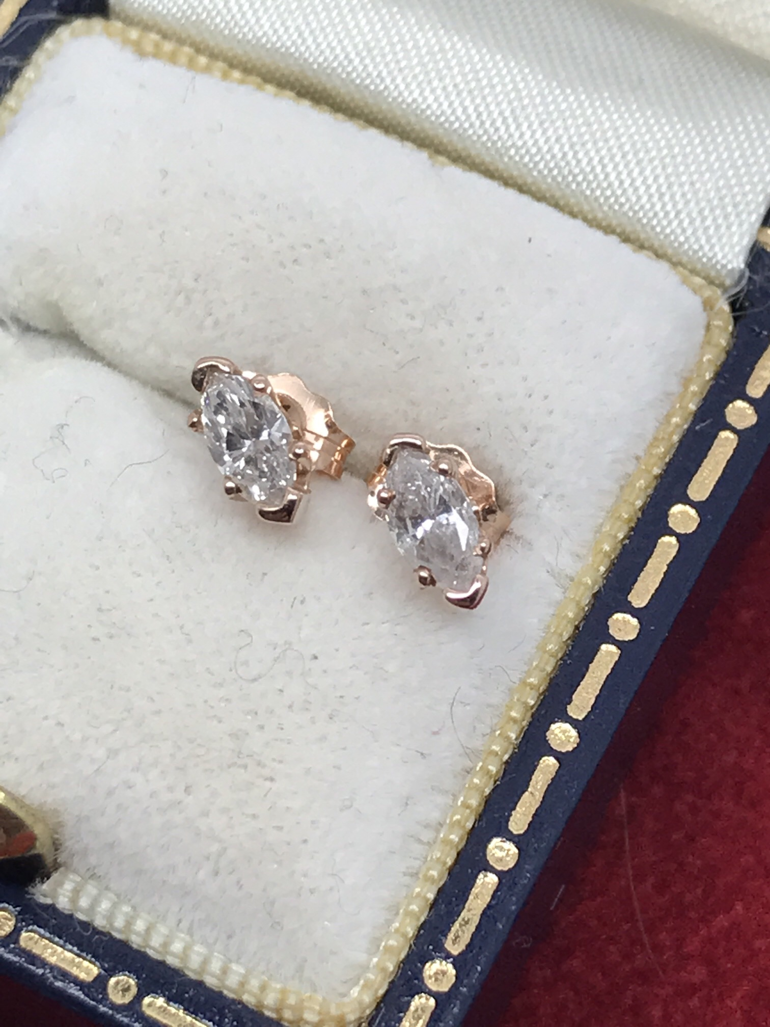 Lot 34 - FINE MARQUISE CUT DIAMOND SOLITAIRE EARRINGS SET IN 14K ROSE GOLD