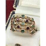 IMPRESSIVE ART DECO EMERALD, RUBY & DIAMOND RING