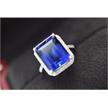 APPROX 12.5CT HUGE BLUE SAPPHIRE & DIAMOND 18K WHITE GOLD RING