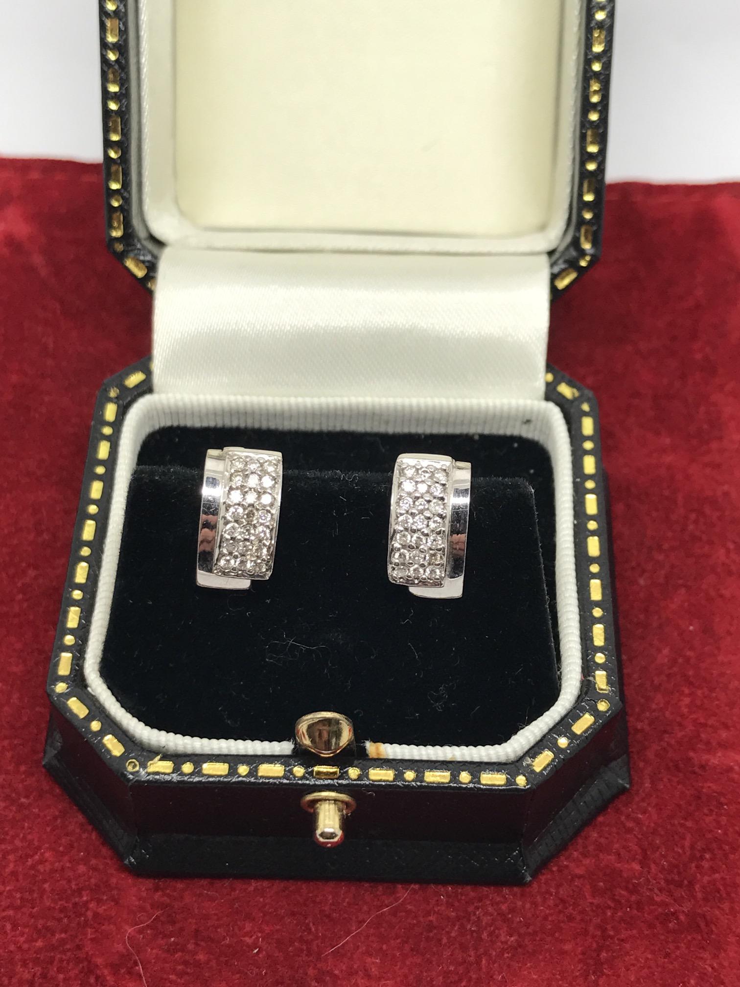 Lot 26 - 18ct WHITE GOLD DIAMOND EARRINGS