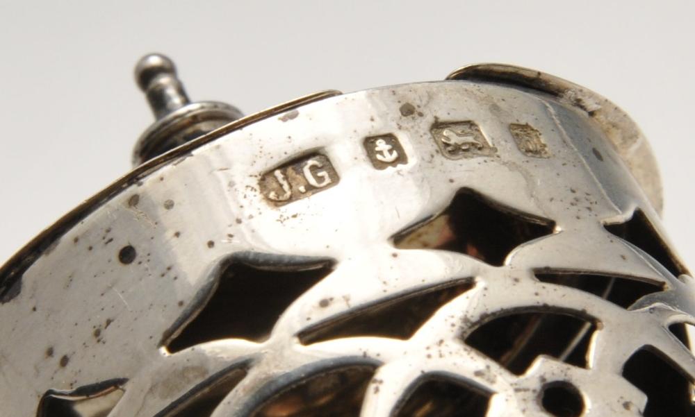 Lot 170 - Two Edwardian silver pierced mustard pots, missing glass liners, one hallmarked Joseph Gloster Ltd.,