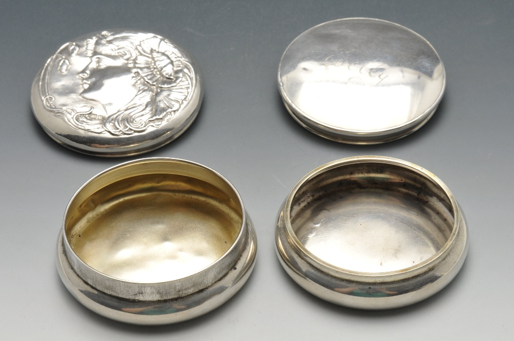Lot 660 - A small collection of silver novelties comprising an Art Nouveau silver pot of circular form and