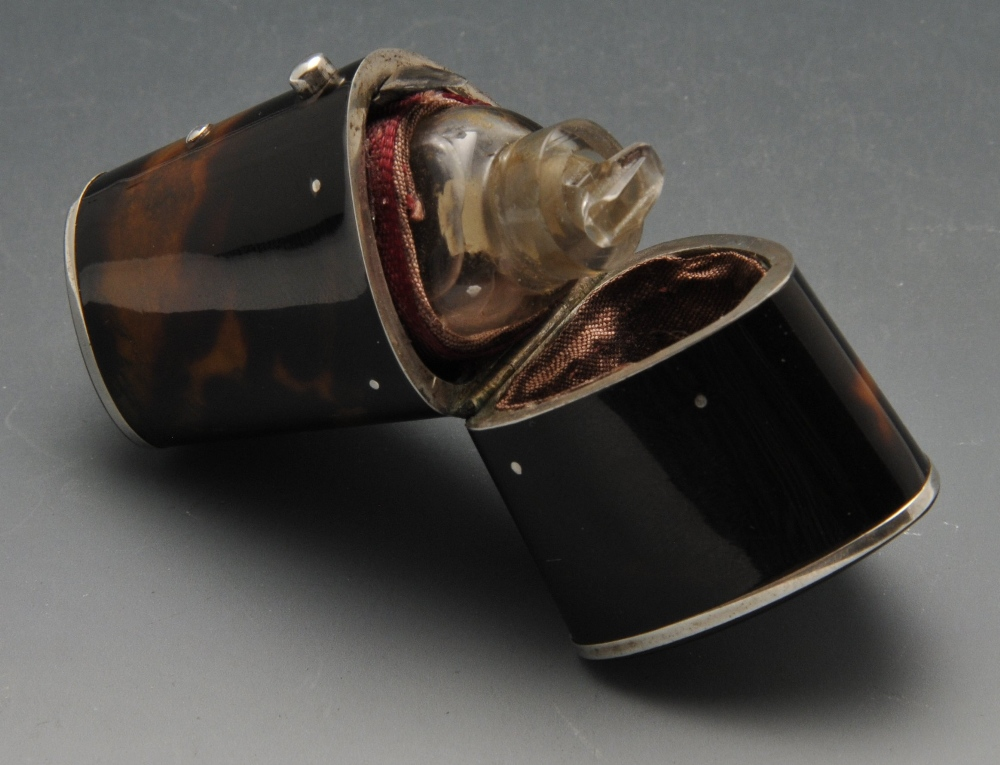 Lot 729 - A tortoiseshell mounted scent bottle, of triangular and slight tapering form having vacant