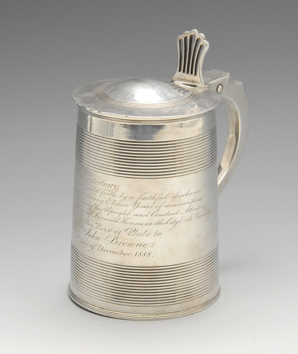 Lot 33 - A George III silver tankard, the slightly tapered form with reeded banding, personal inscription and