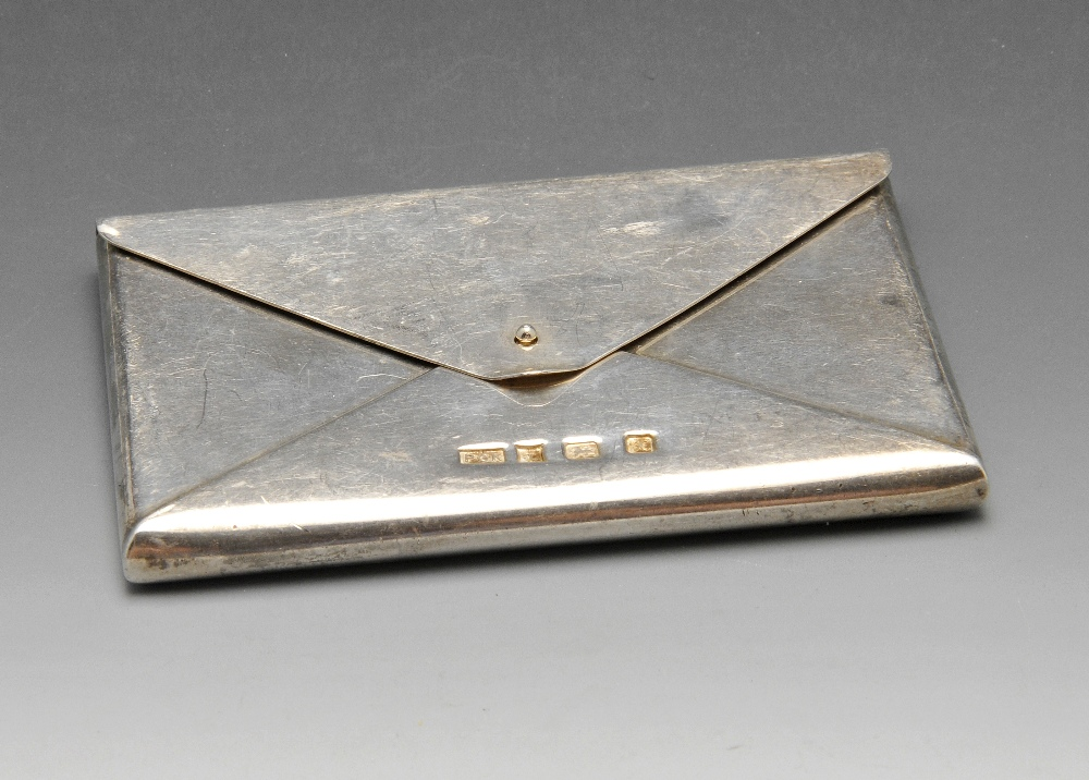 A modern silver visiting or business card case of plain envelope ...
