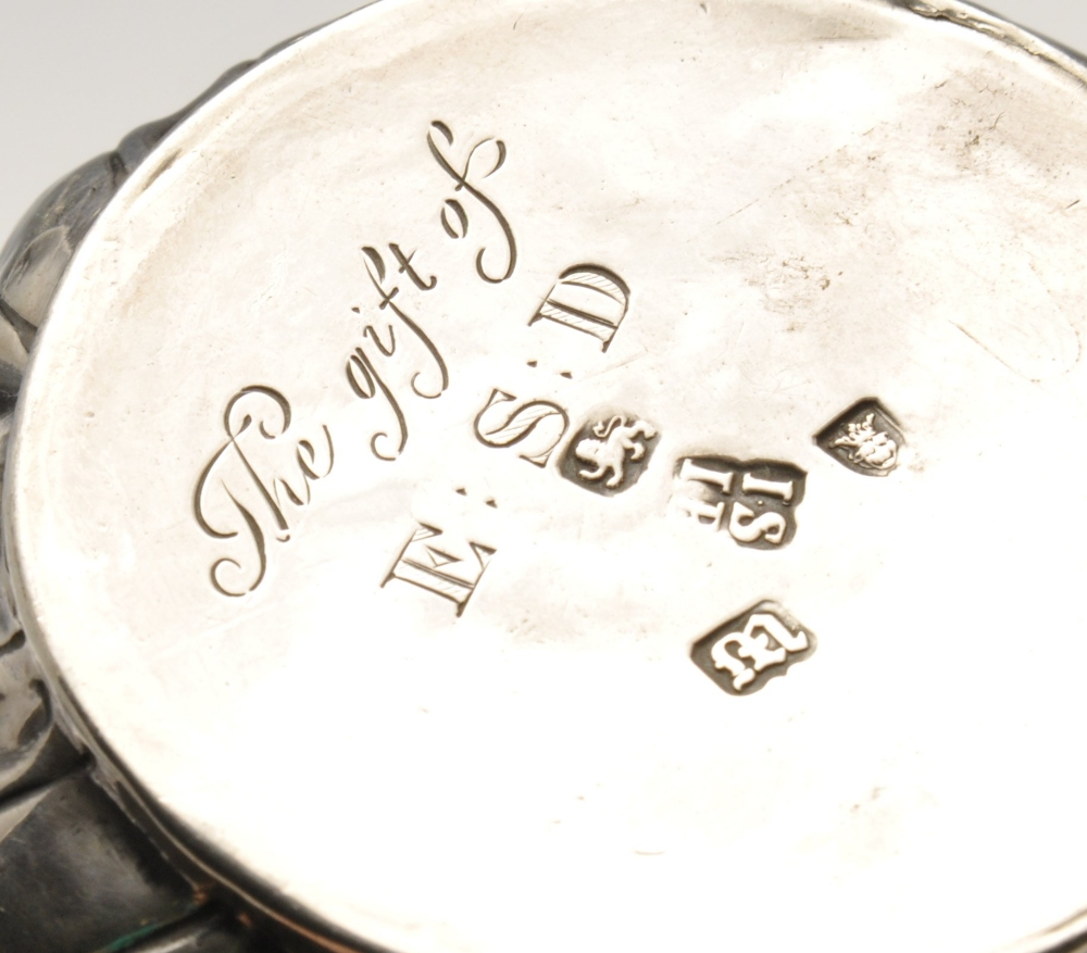 Lot 9 - A George III silver porringer, the typical form with oblique fluted body rising to the vacant