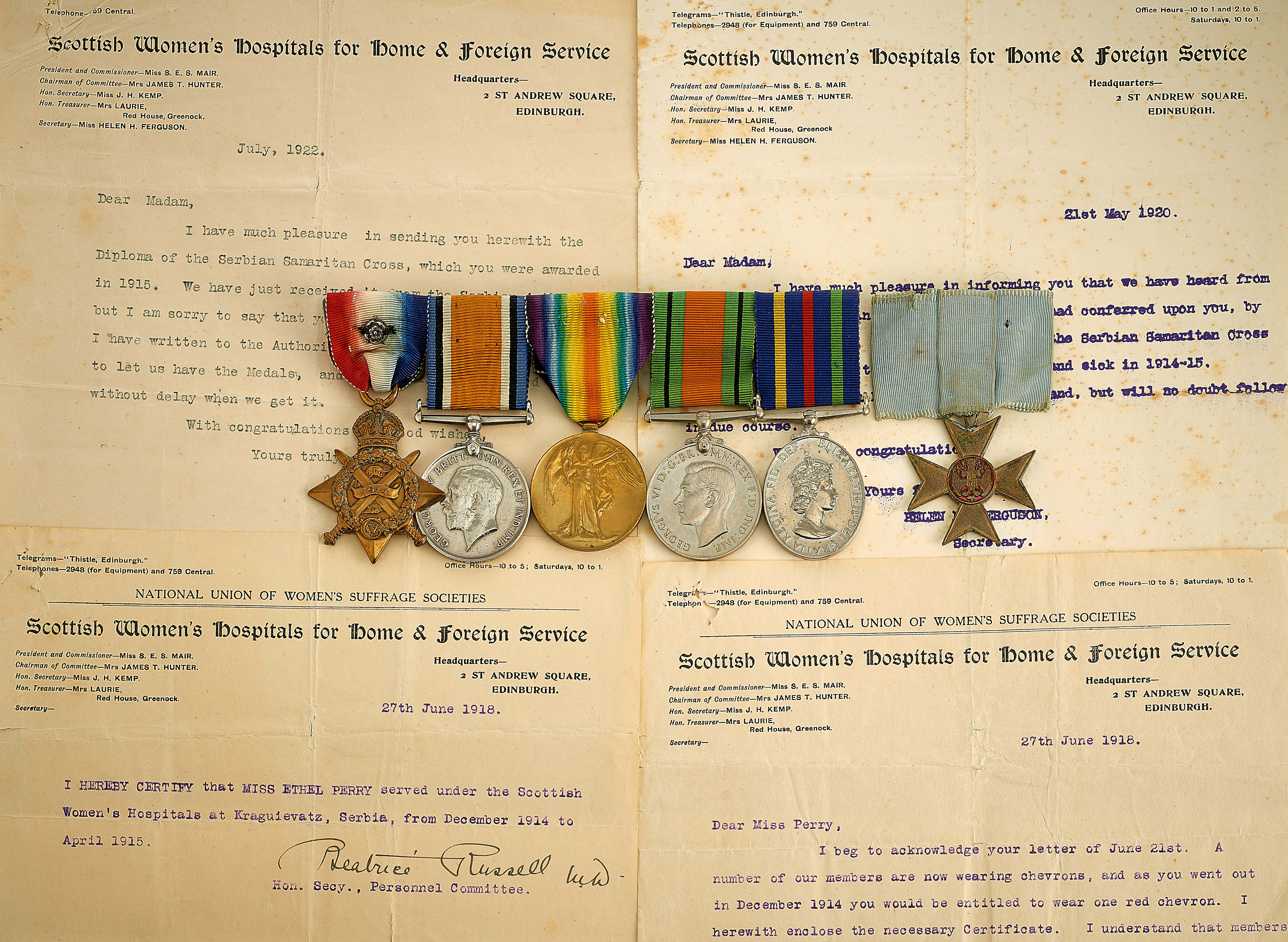 Lot 483 - WW1 Scottish Women's Hospital Auxiliary Hospitals Unit Antwerp 1914 Star Group of Six Medals and
