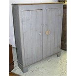 Lot 592 - SHED CUPBOARD, vintage pine and grey painted with two doors, 136cm H x 106cm x 29cm D.