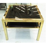 Lot 238 - OCCASIONAL TABLE, with black glass top and undershelf in a brass effect metal frame,