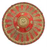 An Abyssinian shield gashan. c.1900, 47.5cms, conical shape covered with red velvet and fitted