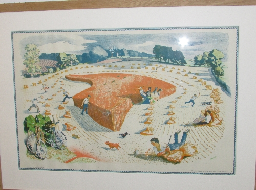Lot 13 - After John Nash (1893-1977) - 'Harvesting' lithograph from the School Prints Series printed at the
