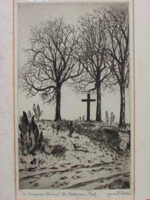 Lot 31 - James P Power - 'A Wayside Shrine'. The Ardennes', etching (27cm x 16cm) titled, signed proof in