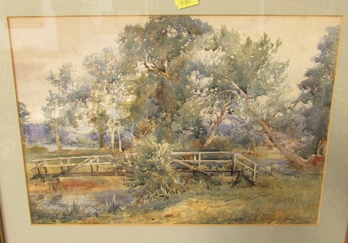 Lot 39 - Arthur W Perry - trees and wooden bridge, watercolour, signed lower right, (25cm x 35cm), F&G
