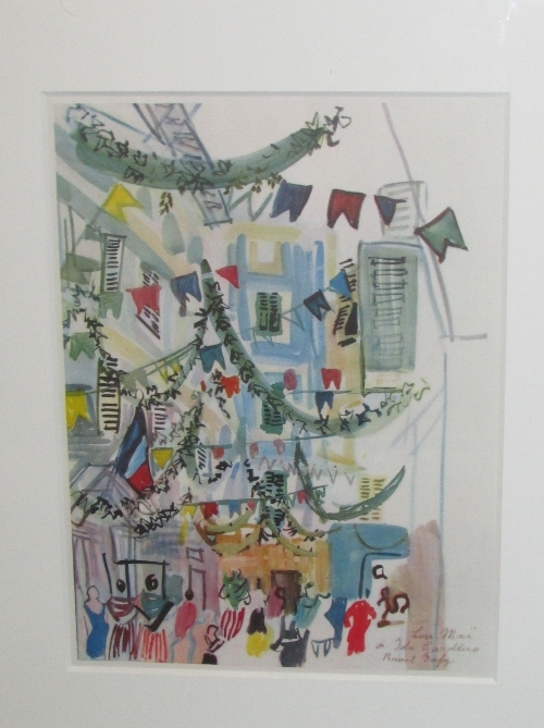 Lot 12 - After Raoul Dufy (1877-1953) - 'Rue de Nic Paudisée', reproduction colour print (34cm x 25cm) glazed