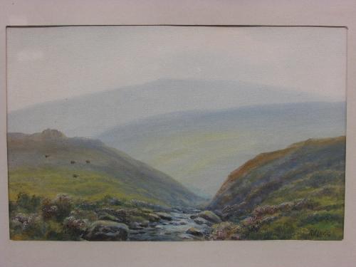 Lot 40 - Robert James Lugg (1877 - 1951) - Annacombe Hill Dartmoor, watercolour (15cm x 23.5cm), signed lower