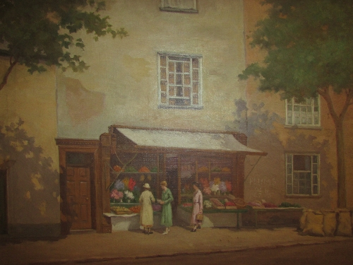 Lot 24 - 20th century oil on board street scene with grocer's shop (48cm x 58cm) signed E Copestick lower