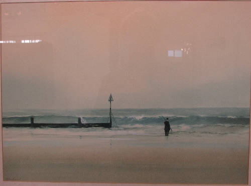 Lot 52 - John Bond - 'The Fisherman', watercolour and gouache, signed in pencil lower left (38cm x 52cm),