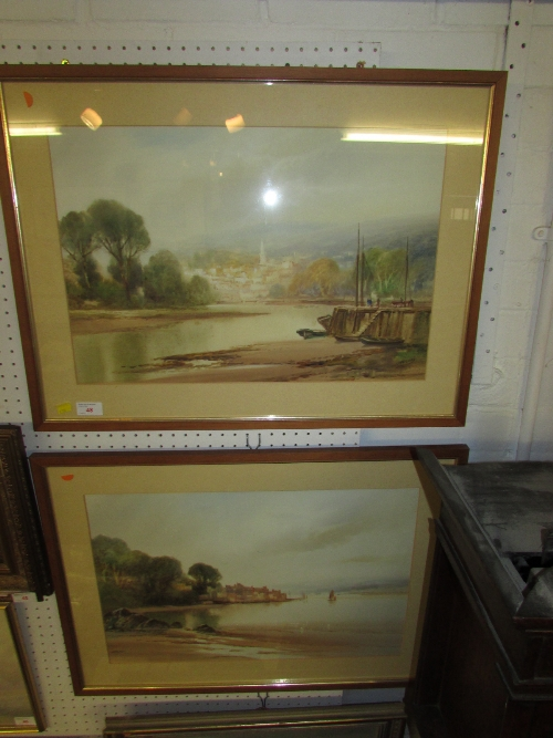 Lot 48 - John Shapland (1865-1929) - two watercolours - river quay with church beyond, signed lower right (