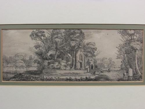 Lot 47 - After Jan Van De Velde (1593-1641) - The Chapel on the Island, etching (11.5cm x 31cm) F&G,