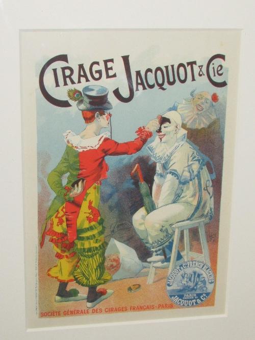 Lot 19 - After Lucien Lefevre - 'Cirage Jacquot et Cie', lithograph (32cm x 22.5cm) glazed and in a grey