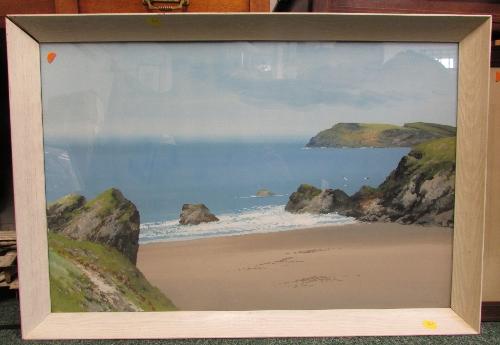 Lot 30 - Reginald Daniel Sherrin (1891-1971) - sandy bay and rocks, watercolour and gouache, signed lower