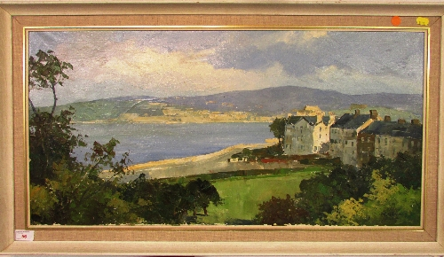 Lot 56 - Houses and bay, oil on canvas, indistinct signature lower right, perhaps mid to late 20th