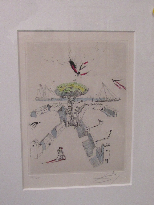 Lot 11 - After Salvador Dali (1904-1989) - 'The Beach at Sete Poemes Secrets', etching, signed edition of