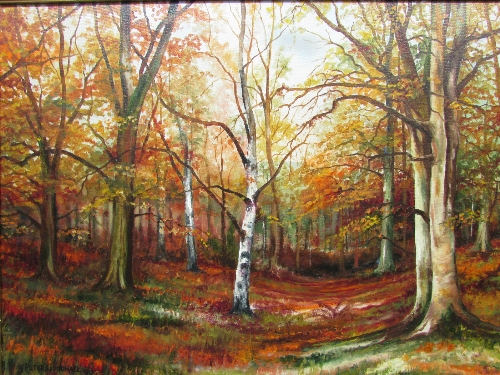 Lot 44 - Peter Goodhall - silver birch in autumn wood, oil on canvas, signed and dated 1983 lower left (44.