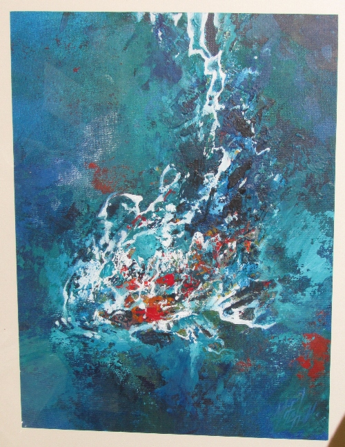 Lot 25 - 'Shimmer Day' abstract expressionist style oil painting (39cm x 29cm) signed and dated Mitch 01