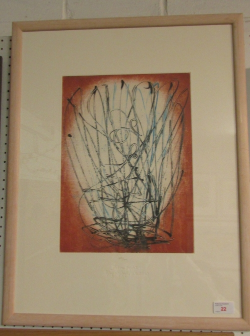Lot 22 - After Barbara Hepworth (1903-1975) - abstract reproduction colour print, numbered in pencil 252/
