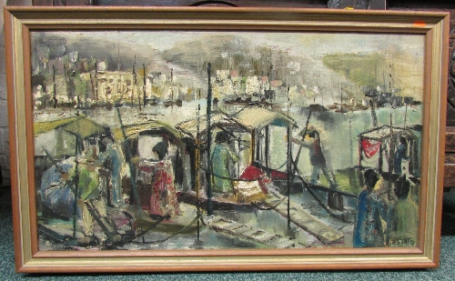 Lot 29 - 20th century oil on board of busy quayside (30cm x 53cm) signed LESLIE, lower right, in a light