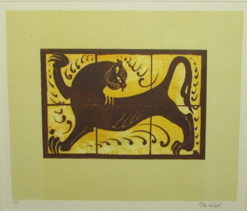 Lot 5 - After Bernard Leach (1887-1979) - 'The Lion Tile', lithograph, signed edition of 100, signed and