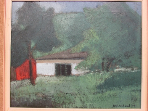 Lot 33 - House amongst trees, oil on canvas, signed H Holmlund '59 (36cm x 44cm) in a hessian frame