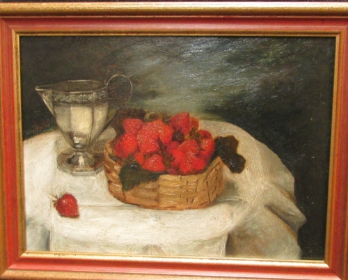 Lot 54 - Still life with strawberries and silver jug, oil on board, initialled K A left edge, (21.5cm x 29.