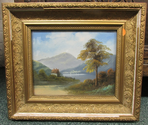 Lot 45 - House by lake with hill beyond, 19th century oil on board or card, indistinct signature lower