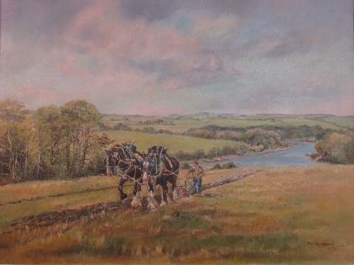 Lot 28 - Wyn Appleford (20th century) - 'Ploughing at Trelissick', oil on canvas, signed lower right (45cm