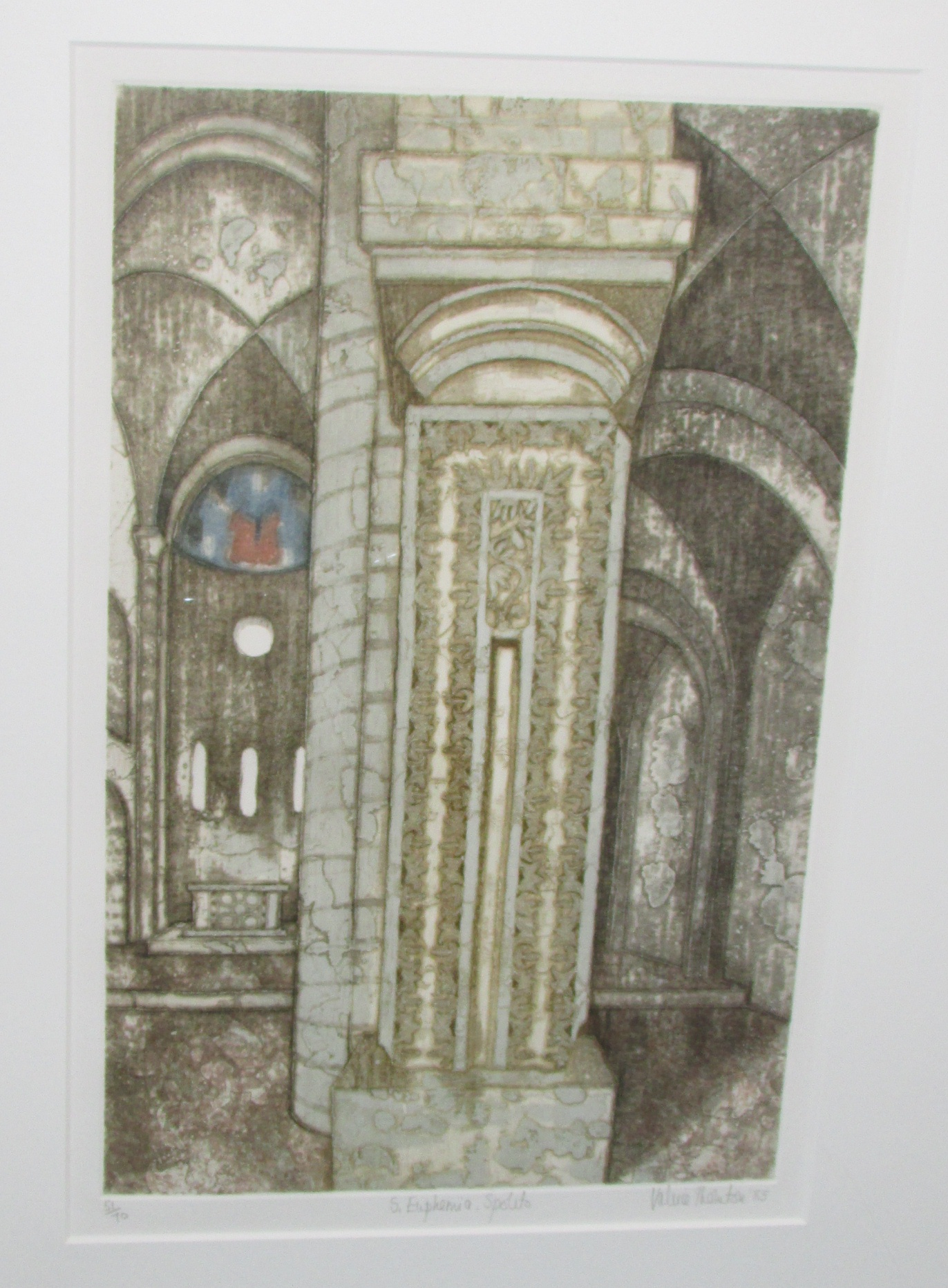 Lot 14 - Valerie Thornton (1931-1991) - 'S. Euphemia, Spoleto', etching and aquatint, signed edition of 70,